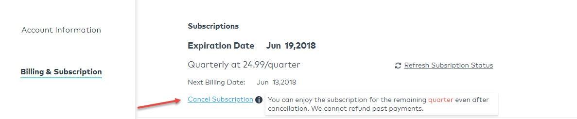 annuler abonnement