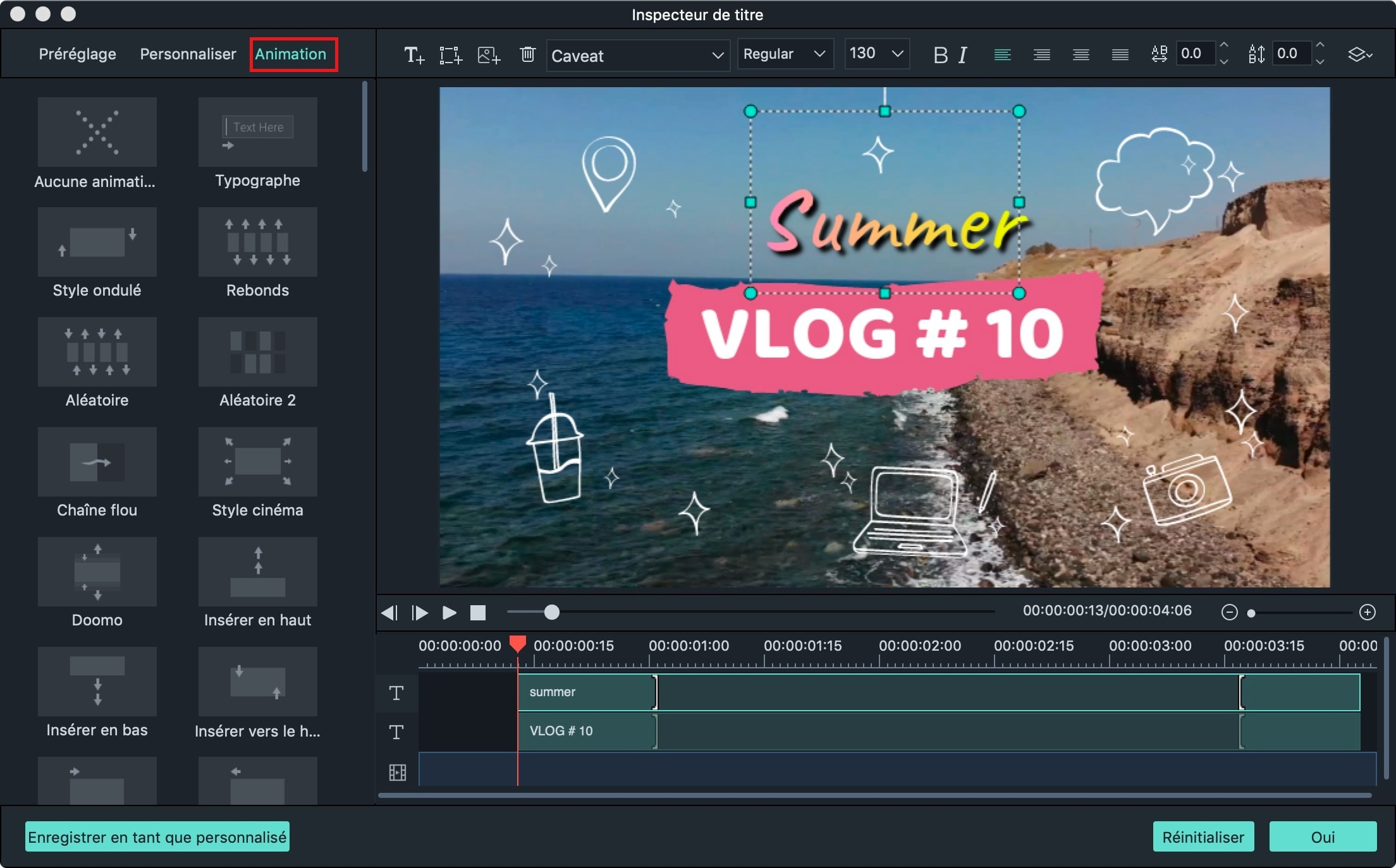 custom text in video