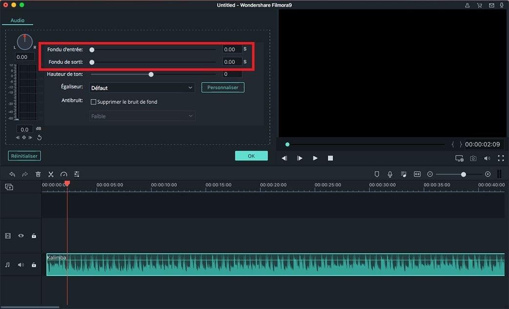 Fondu entrant/sortant de l'audio