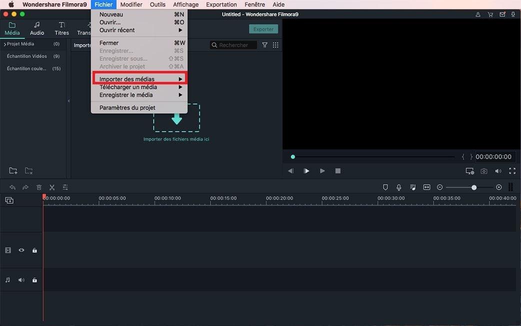 importer des fichiers vidéo et audio