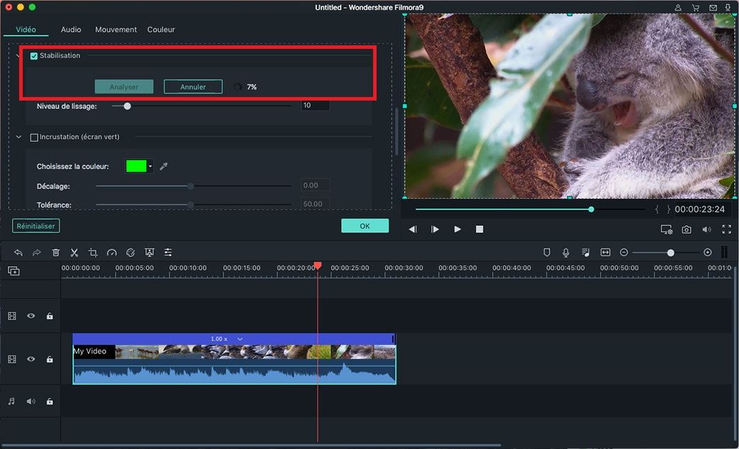 stabiliser la vidéo