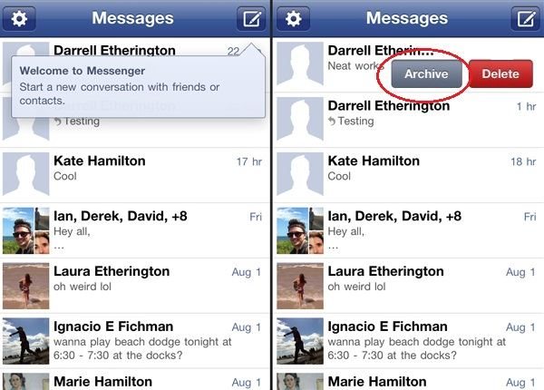 archive facebook messages ios