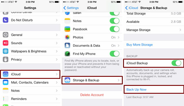 backup your iPhone with iCloud