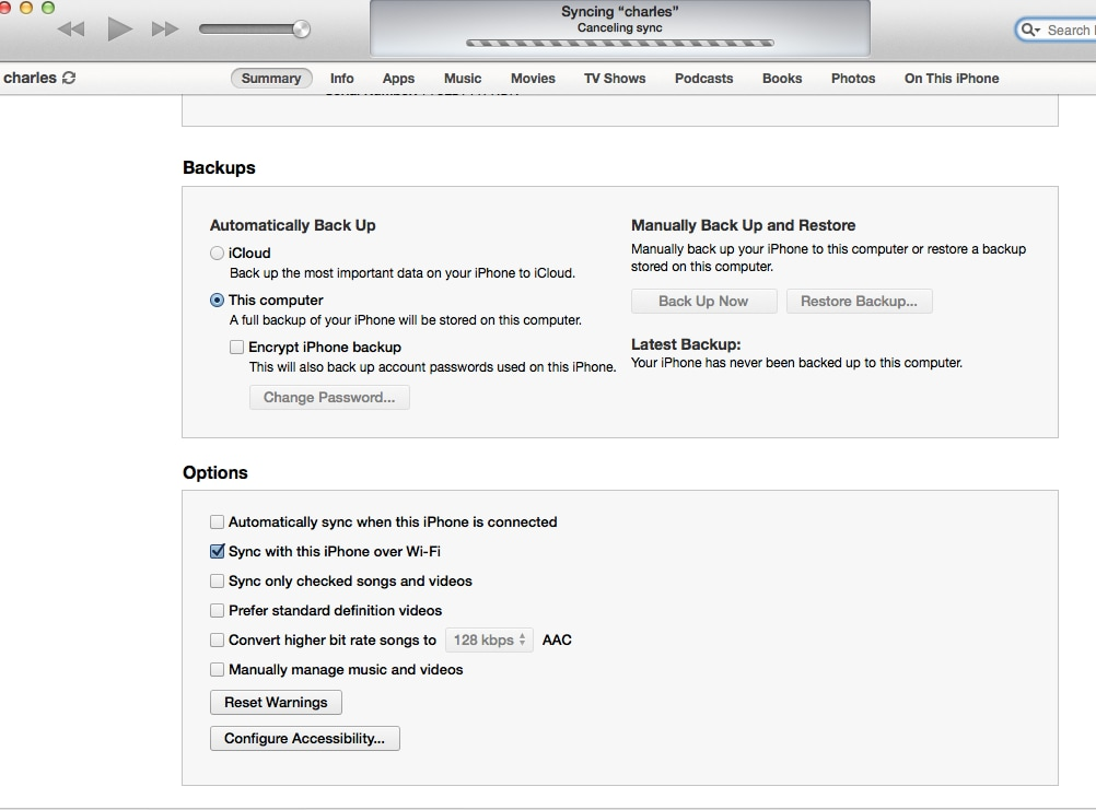 backup iphone on itunes