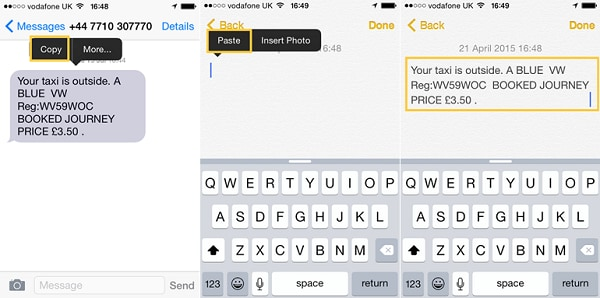 how to print iphone text messages
