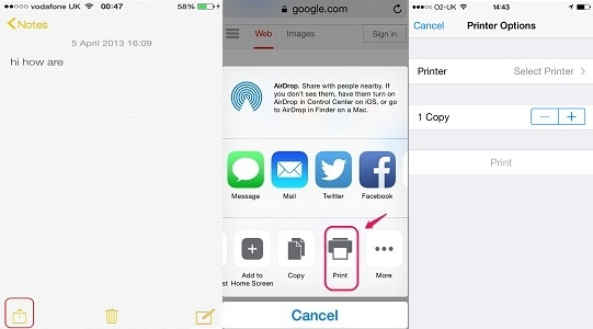 printing text messages from iphone