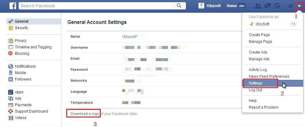 export facebook messages