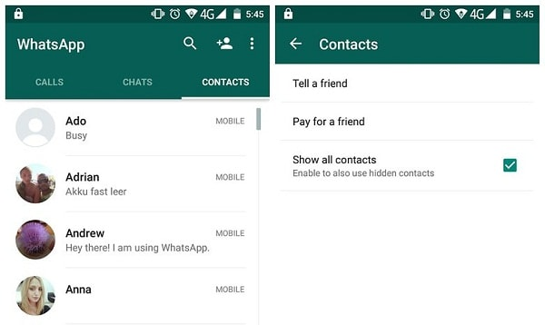 whatsapp contact list