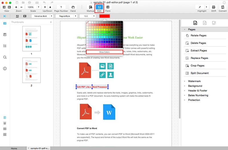 Verändern von Text und Hintergrundfarbe in PDF auf Mac (El Capitan) oder Windows