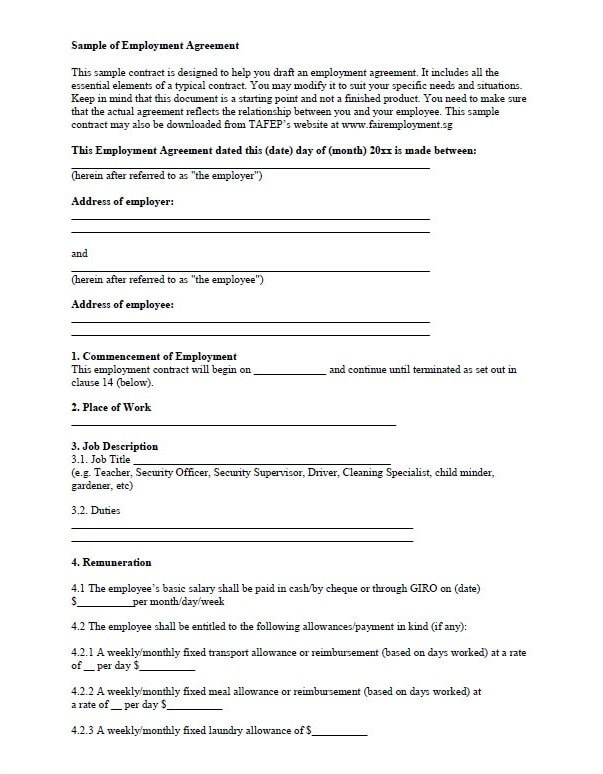 free temporary employment contract template - download fillable pdf forms for free
