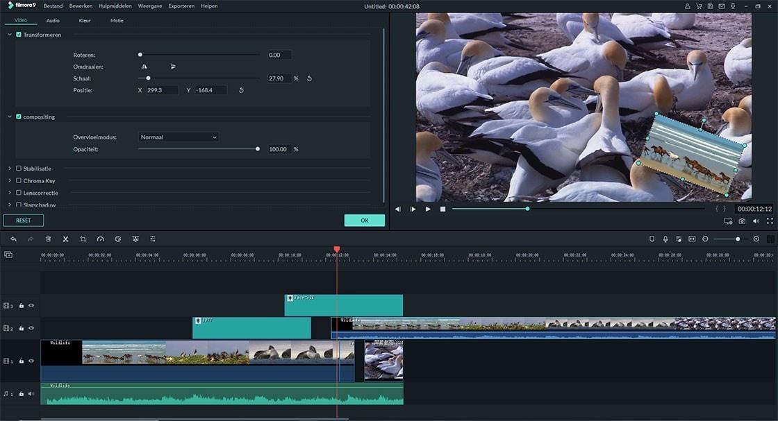 bewerk de duur van de overlay-video