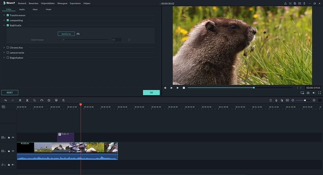 eenvoudige modus van Filmora video-editor