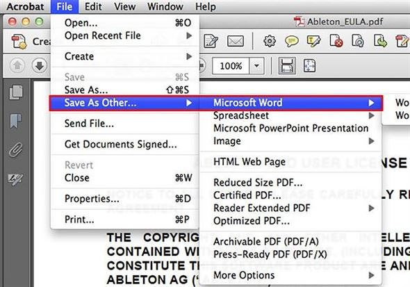 how to turn pdf to word with adobe