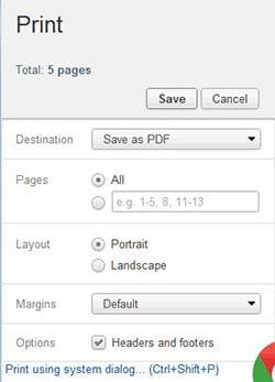 chrome html to pdf