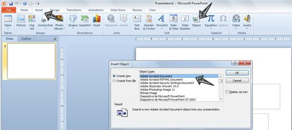 insert pdf into ppt