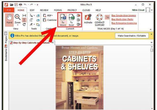convert pdf to excel with nitro