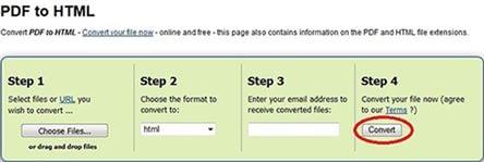 zamzar convert pdf to web page