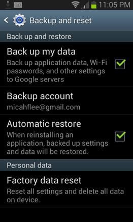 tick Back up my data