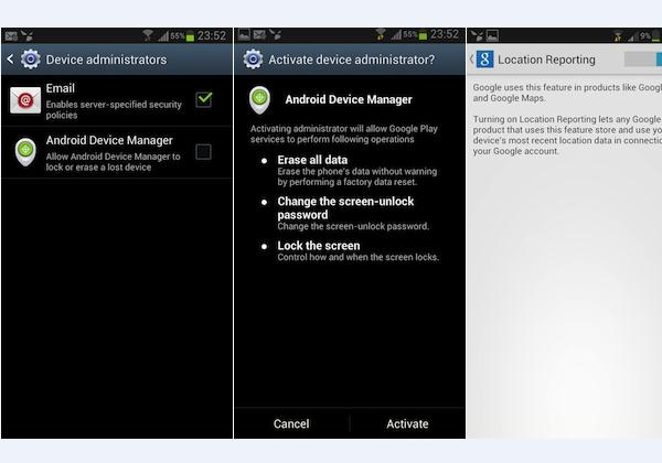 android device manager screenies
