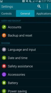 open Backup and reset