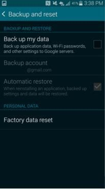 do backup and reset