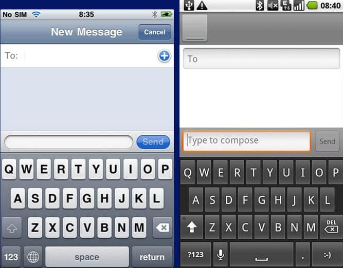 Android vs iPhone Keyboard