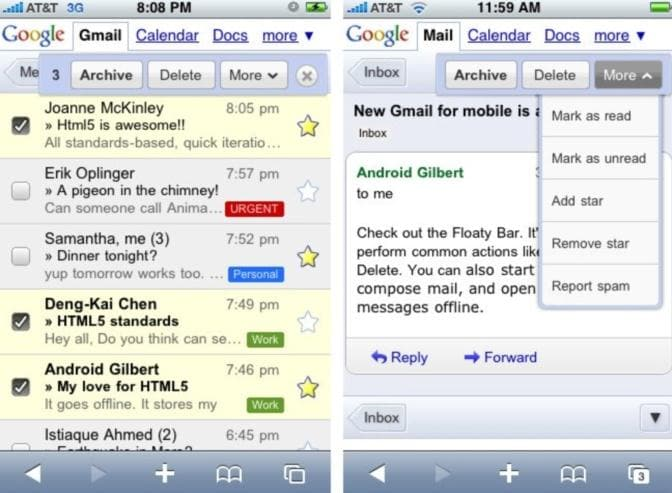 Android vs iPhone Mail