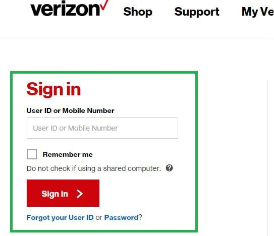 sign in to your Verizon account