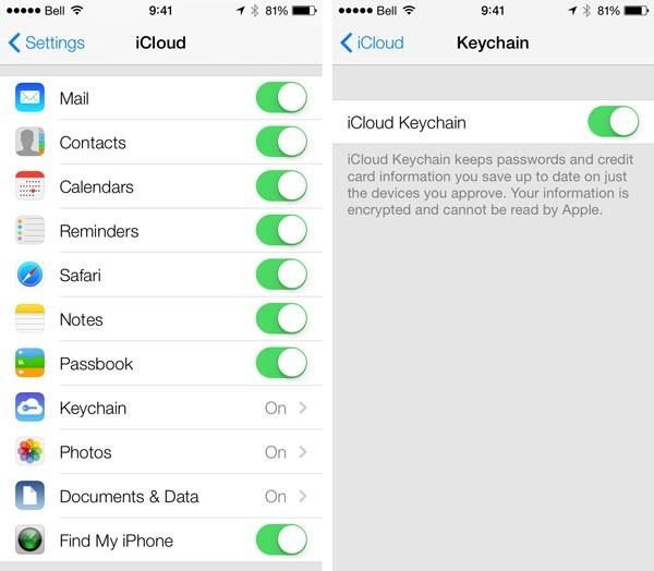 toggle iCloud Keychain off