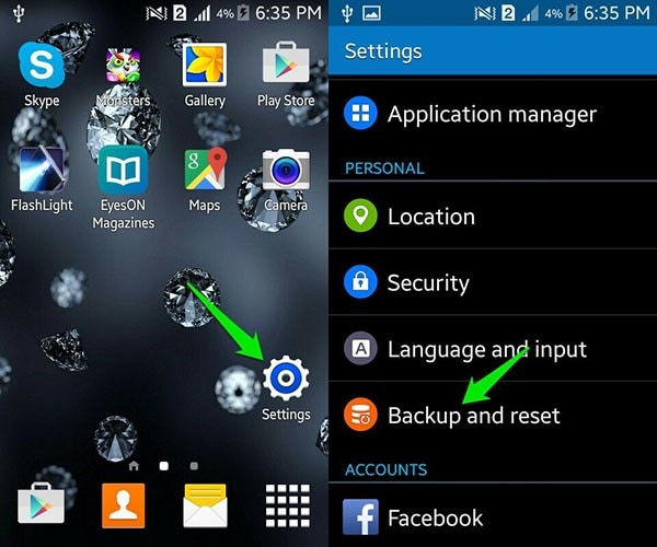 tap on Backup and reset