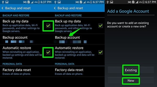backup Samsung Android with Google
