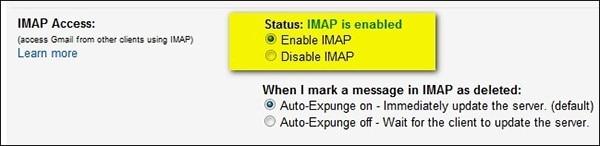 turn on Enable IMAP
