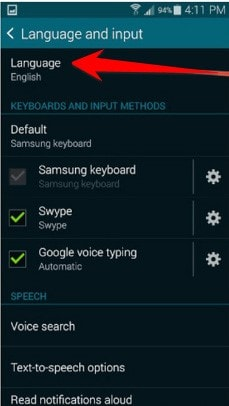 change samsung phone language