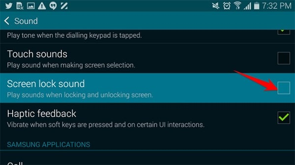 change samsung phone lock sound
