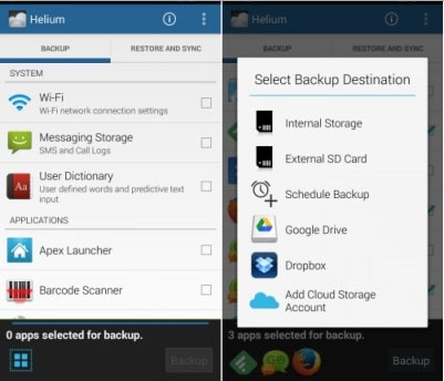 helium backup android