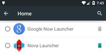 select the Nova Launcher