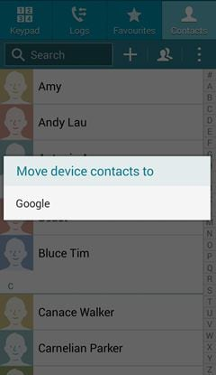 Samsung export contacts to google