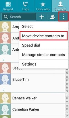 export Samsung contacts to gmail