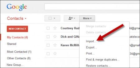 gmail import samsung contacts