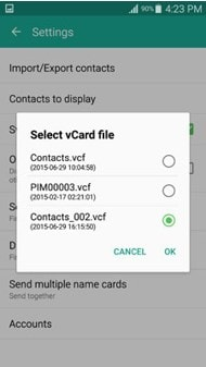 import the contacts from the Contacts App