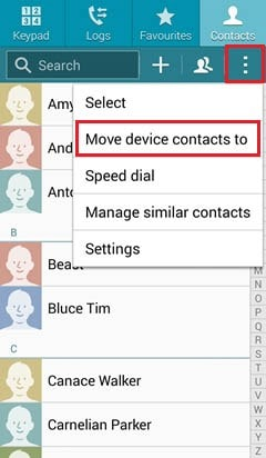 select Move device contacts to