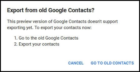 select Go to the old Google Contacts