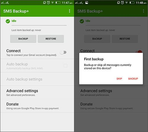 sms backup + transfer data between android
