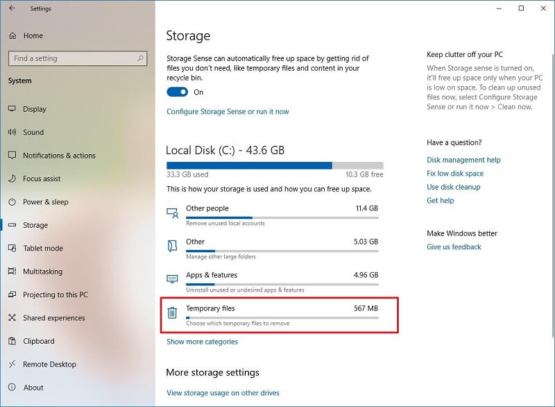 how to delete temporary files