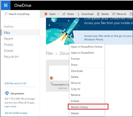 restore deleted powerpoint from onedrive