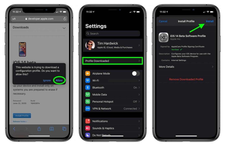 install ios 14 beta on iphone