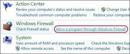 Allow a Program through Windows Firewall