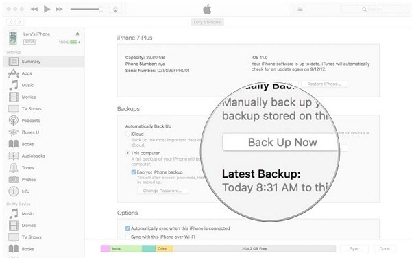 backup of all your data from your present phone
