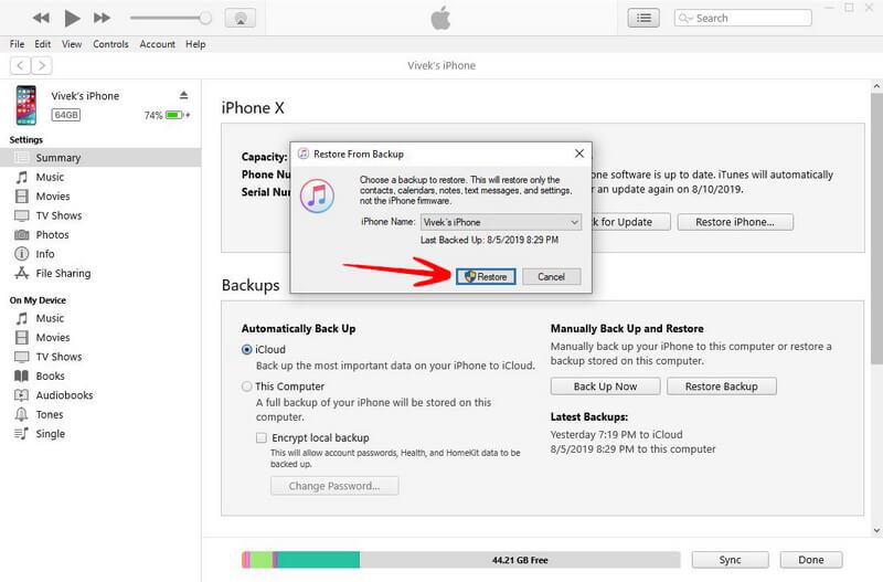 begin restore iOS 12 after downgrade ios 13