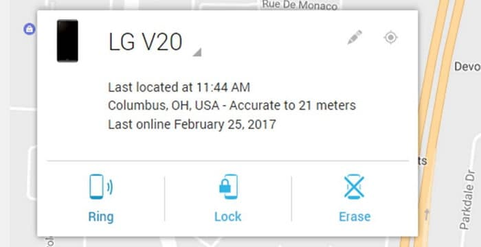 unlock lg with find my device